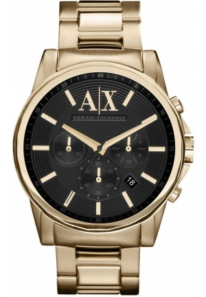A|X ARMANI EXCHANGE Men's Gold Ion Plated Stainless Steel Bracelet 45mm