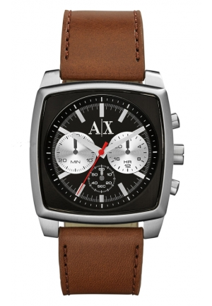 A|X ARMANI EXCHANGE Stockton Chronograph Black Dial Brown Leather 40mm