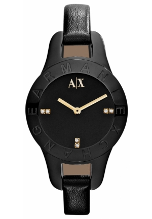 A|X ARMANI EXCHANGE Women's Black Leather Strap 30mm