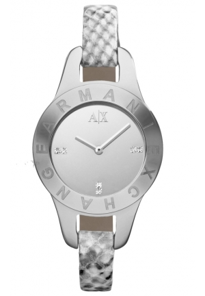 A|X ARMANI EXCHANGE Silver Dial Python-Stamped Leather Ladies 31mm