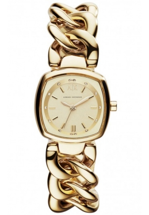 A|X ARMANI EXCHANGE Chain Collection Champagne Dial Gold-plated Ladies Watch 26mm