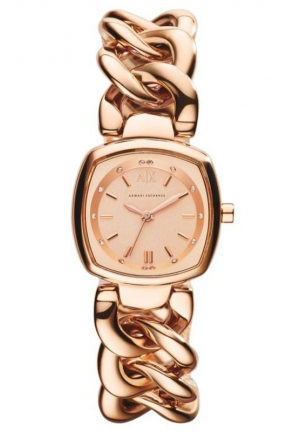 A|X ARMANI EXCHANGE Rose Gold Stainless Steel Chain Ladies Watch 25MM