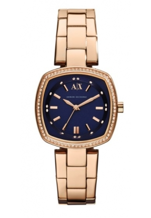 ARMANI EXCHANGE Palisades Navy Blue Dial Rose Gold-plated Ladies Watch