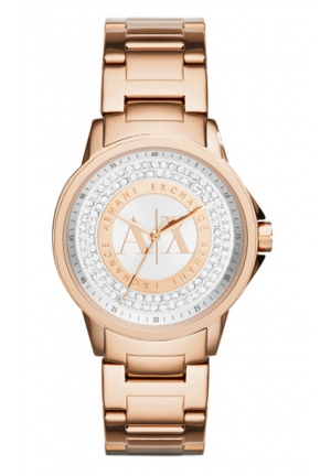 A|X ARMANI EXCHANGE Julietta Silver and Rose Dial Rose Gold-tone Ladies Watch 35MM