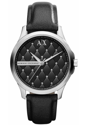 A|X ARMANI EXCHANGE A|X Armani Exchange Watch, Women's Black Leather Strap 36mm