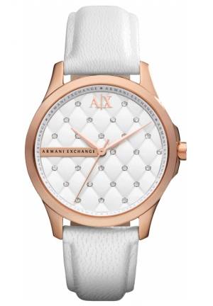 A|X ARMANI EXCHANGE White Dial White Leather Ladies Watch 37mm