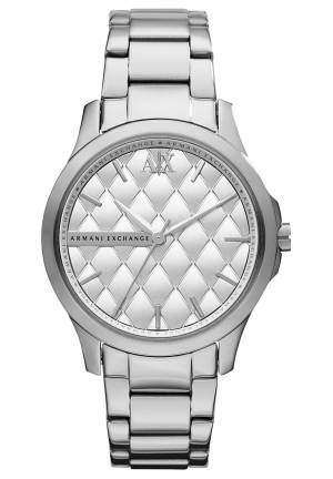 A|X ARMANI EXCHANGE Armani Exchange Silver Quilted Dial Stainless Steel Ladies Watch 36mm