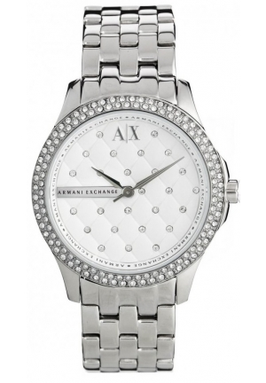 ARMANI EXCHANGE Lady Hamilton Silver Quilted Dial Stainless Steel Ladies Watch