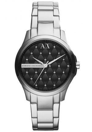 A|X ARMANI EXCHANGE Black Quilted Dial Bracelet Women's Watch 36MM