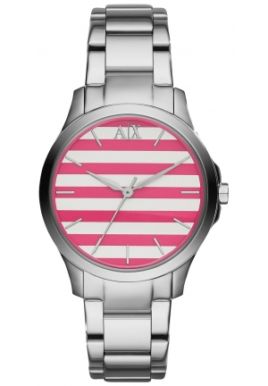 ARMANI EXCHANGE Pink and White Striped Dial Ladies Watch