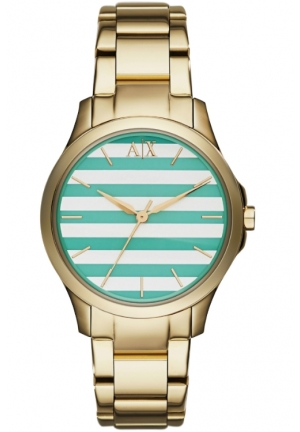 ARMANI EXCHANGE Green and White Striped Dial Ladies Watch