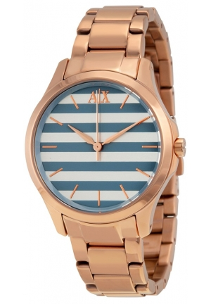 ARMANI EXCHANGE Blue and White Striped Dial Ladies Watch