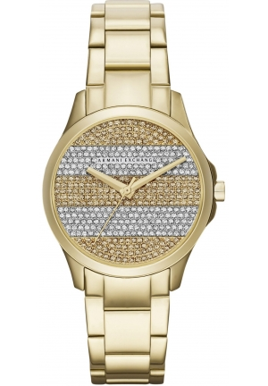 ARMANI EXCHANGE Crystal Pave Striped Dial Ladies Watch