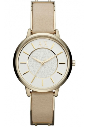 A|X ARMANI EXCHANGE White Dial Beige Leather Ladies