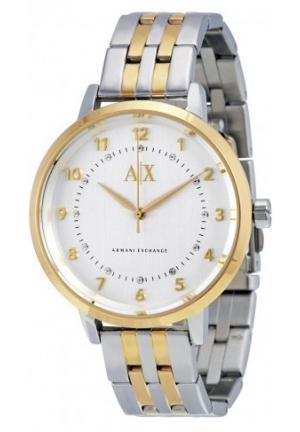 ARMANI EXCHANGE Brushed Silver Swarovski Crystal Dial Ladies Watch