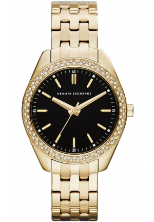 A|X ARMANI EXCHANGE Ladies Black Gold Sarena LP Smart Watch 36MM