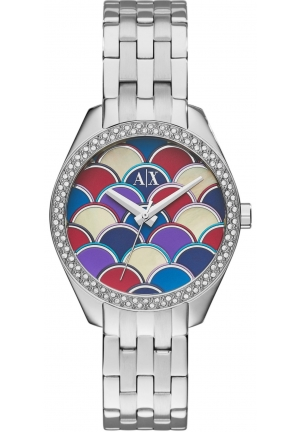 Armani Exchange Multi-Colored Mosaic Dial Stainless Steel Ladies Watch