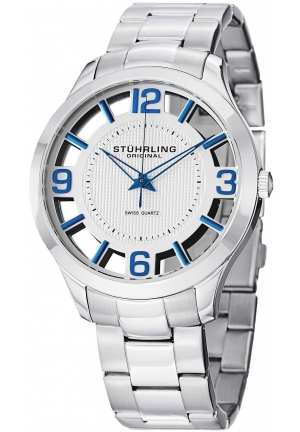 "Stuhrling Original Mens Watch ""Specialty Winchester"" Swiss Quartz Stainless Steel Transparent Silver Dial Water Resistant Watches"