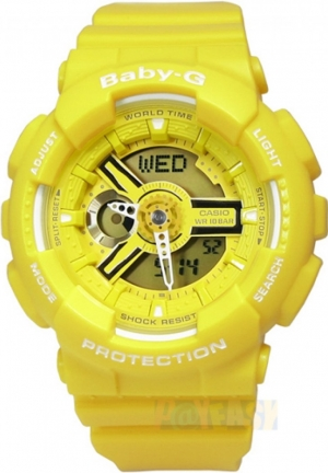 Casio Women's  Baby G Analog-Digital Display Quartz Yellow Watch 46MM