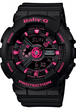 CASIO Baby G LED LIGHT ANA-DIGI METALLIC BLACK PINK WATCH NEW 46MM