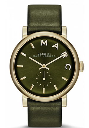 Baker Olive Dial Olive Leather Ladies Watch 38mm