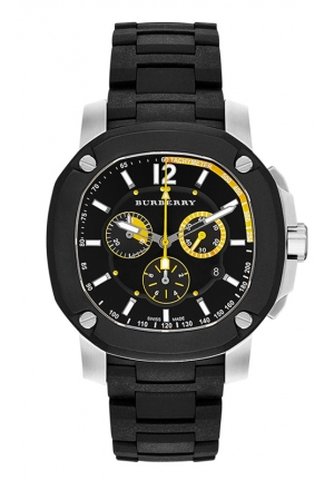 BURBERRY Men's Swiss Chronograph The Britain Black Polyurethane Strap Watch 47mm