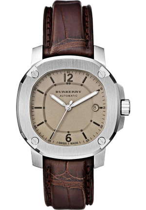 BURBERRY THE BRITAIN AUTOMATIC ALLIGATOR STRAP WATCH 43MM