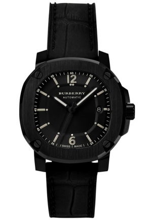 Men's Swiss Automatic The Britain Black Rubberized Leather Strap Watch 43mm