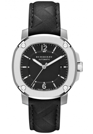 BURBERRY Men's Swiss The Britain Black Leather Strap Watch 43mm