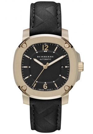 BURBERRY Men's Swiss Automatic The Britain Travel Black Leather Strap Watch 43mm