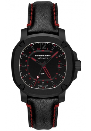 BURBERRY Men's Swiss Automatic GMT The Britain Black Textile Strap Watch 43mm