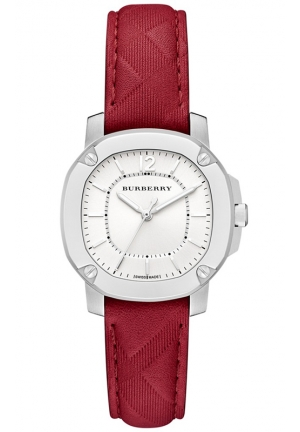 Burberry Women's Swiss The Britain Red Leather Strap Watch 34mm