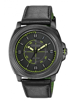 """Citizen Men's """"Drive"""" Ion-Plated Stainless Steel Watch with Black Leather Band"""