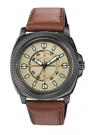 "Citizen Men's""Drive from Citizen"" Stainless Steel Watch with Brown Leather Band"