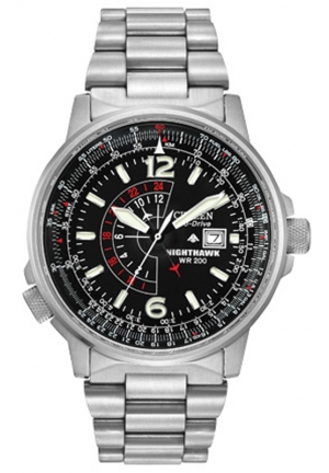 "CITIZEN ""Nighthawk"" Stainless Steel Eco-Drive Watch with Link Bracelet 293 customer reviews 42mm"