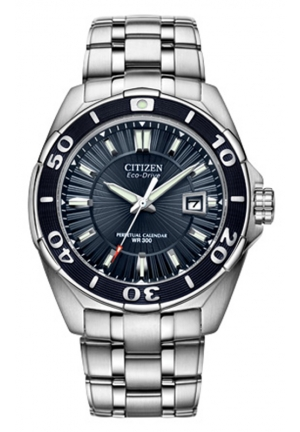 Citizen Men's Eco-Drive Blue Dial Stainless Steel Analog Watch