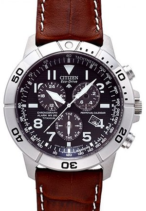 Men's Titanium Eco-Drive Watch with Leather Band 43mm
