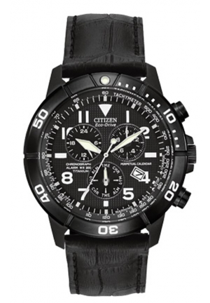 Citizen Men's Gunmetal-Tone Stainless Steel Watch with Black Leather Band