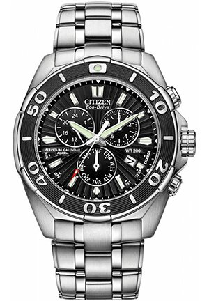 Men's Eco-Drive Signature Perpetual Calendar Chronograph Stainless Steel Bracelet 43mm