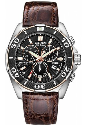 Men's Eco-Drive Signature Perpetual Calendar Chronograph Brown Leather Strap 43mm