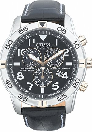 Men's Perpetual Calendar Chronograph Black Leather Strap 44mm