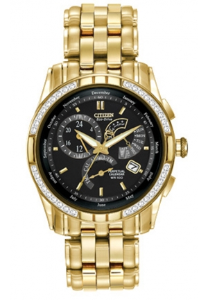 "Citizen Men's ""Calibre 8700"" Stainless Steel Diamond-Accented Eco-Drive Watch"