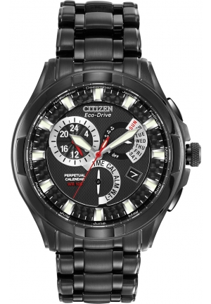 "Citizen Men's Eco-Drive ""Calibre 8700"" Black Ion-Plated Stainless Steel Watch"