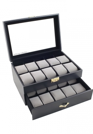 Black Classic Watch Case Display Box With Clear Glass Top Holds 20 Watches and Caddy Bay Collection Microfiber Cleaning Cloth