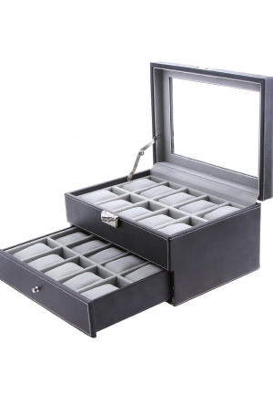 Black Leather Watch Box 20 Mens Glass Top Lockable Watch Display Case Organizer with Drawer
