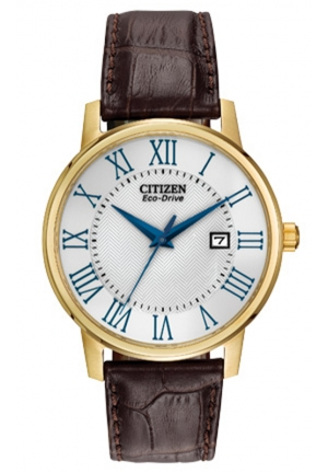 Citizen Gold Plated Brown Leather Strap Watch