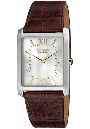 Men's Eco-Drive Brown Leather Strap 35x31mm