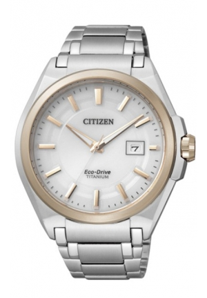 CITIZEN Eco-Drive White Dial Date Titanium Watch 43mm