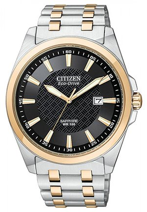 Citizen® Eco-DriveTM Mens Black-Dial Two-Tone Watch 40mm