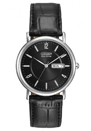 Citizen Men's Eco-Drive Stainless Steel Watch with Leather Band